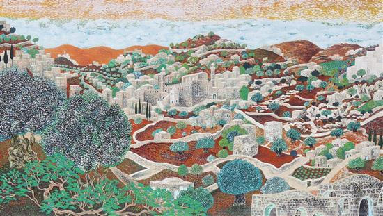 Baruch Nachshon b.1939 (Israeli) Jerusalem oil on canvas