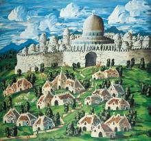 Gabriel Cohen b.1933 (French, Israeli) La banlieue de Jerusalem, 1986 oil on canvas