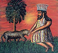 Gabriel Cohen b. 1933 (French, Israeli) Hanavi Daniel and a lion oil on wood