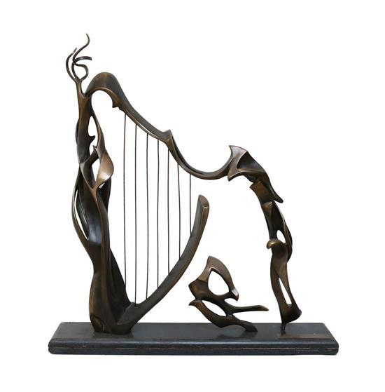Ofra Friedland b.1959 (Israeli) David's harp, 1995 bronze