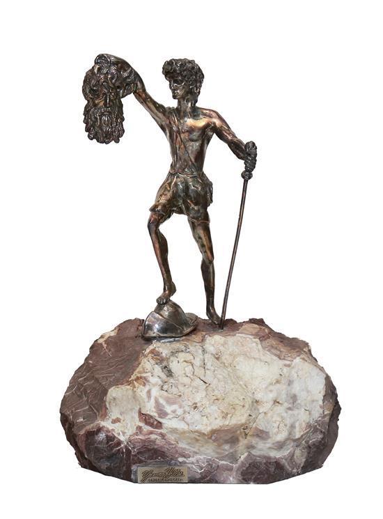 **Yaacov Heller b. 1941 (Israeli) David's triumph silver electroform on marble base