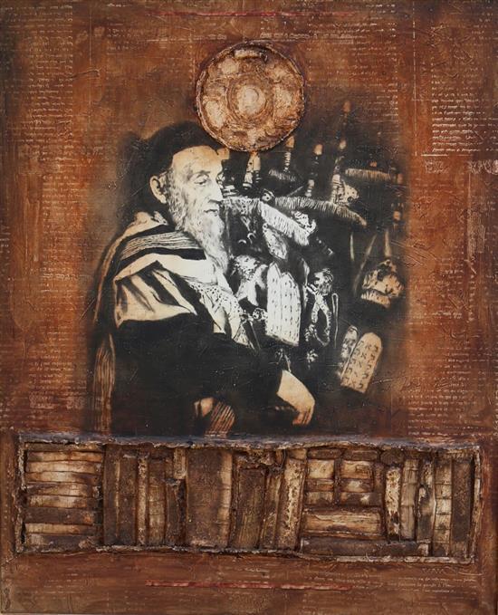 Alain Kleinmann b.1953 (French) Religious man oil and mixed media on canvas