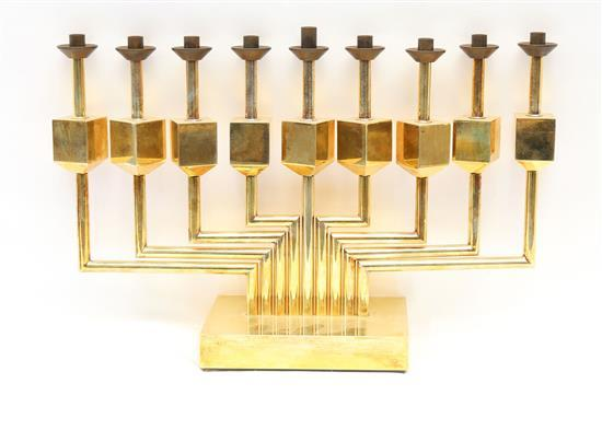 Yaacov Agam b.1928 (Israeli) Hanukiah brass