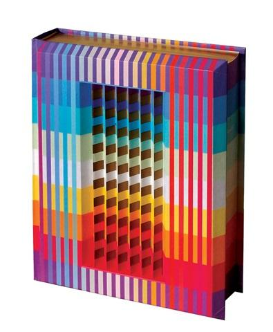 Yaacov Agam b.1928 (Israeli) Pentateuch (The Five Books of Moses), 1992 polymorph on the cover of book in a plexiglass box