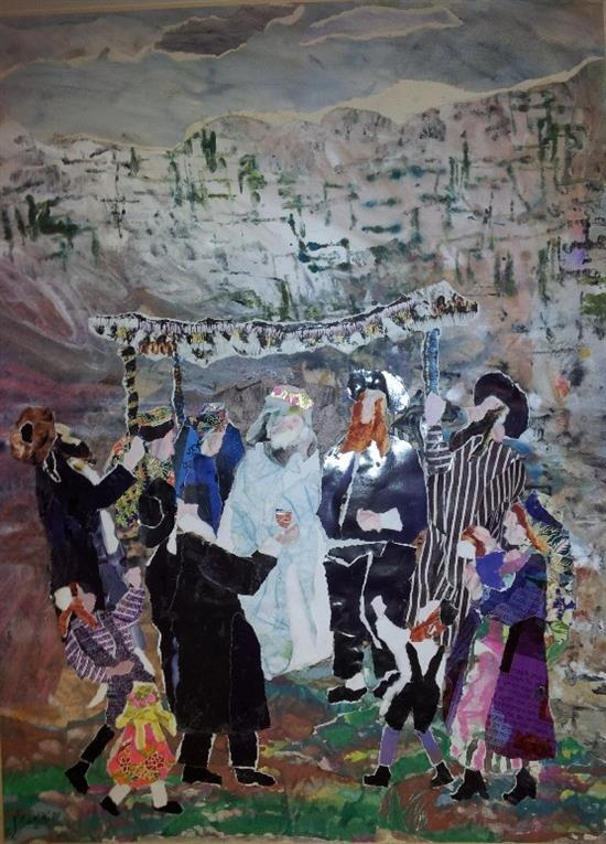 Judith Yellin 1923-2005 (Israeli) Wedding at the Western Wall, 2002 collage and watercolor on paper