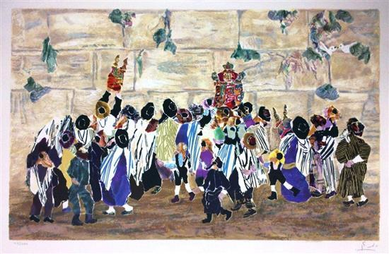 Judith Yellin 1923-2005 (Israeli) Simchat Torah near Wailing Wall color lithograph