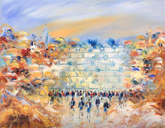 Ben Avram b.1937 (Israeli) Wailing wall oil on canvas