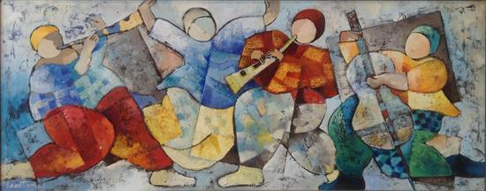 Dorit Levi b.1952 (Israeli) Musicians oil on masonite