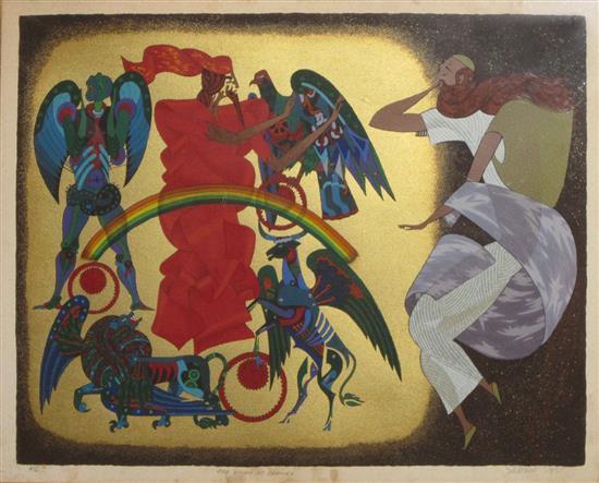 Shlomo Katz 1937-1992 (Polish, Israeli) The vision of Ezekiel lithograph