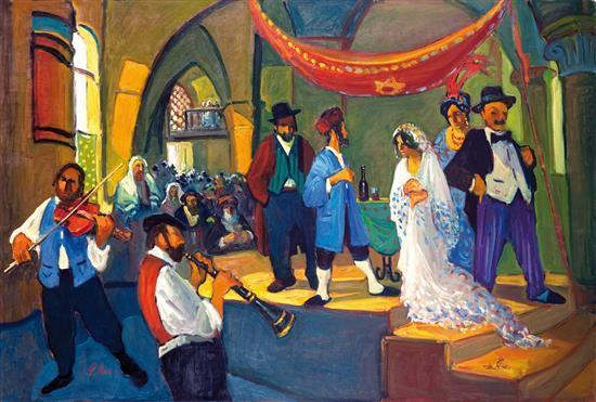 Avi Schwartz b.1938 (Israeli) Wedding oil on canvas