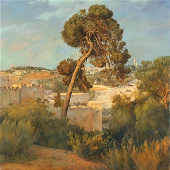 Helena Adam b.1973 (Ukrainian, Israeli) Pine tree overlooking the old city oil on canvas