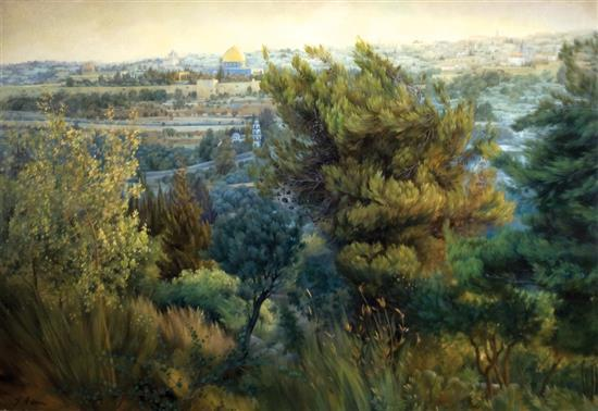 Helena Adam b.1973 (Ukrainian, Israeli) View of Jerusalem oil on canvas