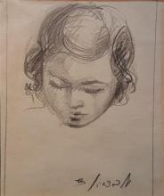 Shmuel Ovadiahu 1892-1963 (Israeli) Girl pencil on paper