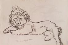 Joseph Constant Constantinovsky 1892-1969 (Russian, French, Israeli) Lion charcoal on paper