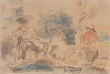 Leo Kahn 1894-1983 (Israeli) Riding in the field panda on paper