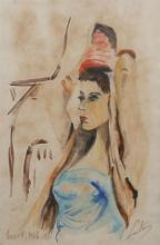 Unknown Israeli artist 20th century Young woman, 1966 watercolor on paper