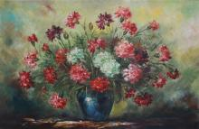 Unidentified artist 20th century Flowers in the blue vase oil on canvas