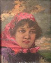 Unidentified Hungarian artist A woman with a head covering, c.1920-40's oil on board