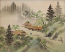 Unidentified Chinese artist Landscape with houses in the mountains ink and mixed media on material
