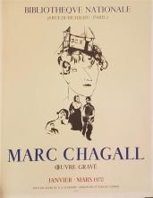Marc Chagall 1887-1985 (Russian, French) Oeuvre Grave, Bibliotheque Nationale, 1970 lithographic poster, published by Mourlot, Paris...