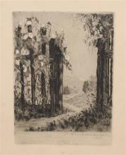 Unidentified artist 19th century Garden gate etching
