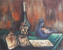 Paskal Still life with bottle and newspaper oil on canvas