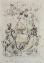 Unidentified artist Couple sitting under a tree etching