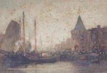 John Ernest Aitken 1881-1957 (British) Port scene watercolor on paper mounted on cardboard