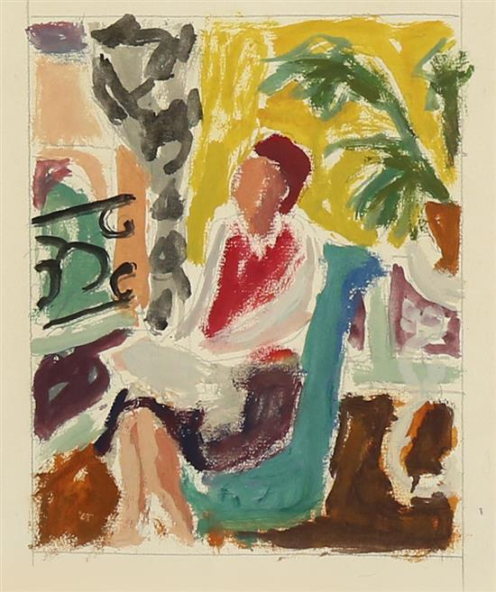 **Jean Jules Louis Cavaillטs 1901-1977 (French) Woman seated in interior oil and pencil on paper