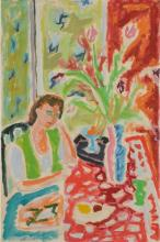 **Jean Jules Louis Cavailles 1901-1977 (French) Woman seated near the table with flower bouquet gouache on paper mounted on canvas