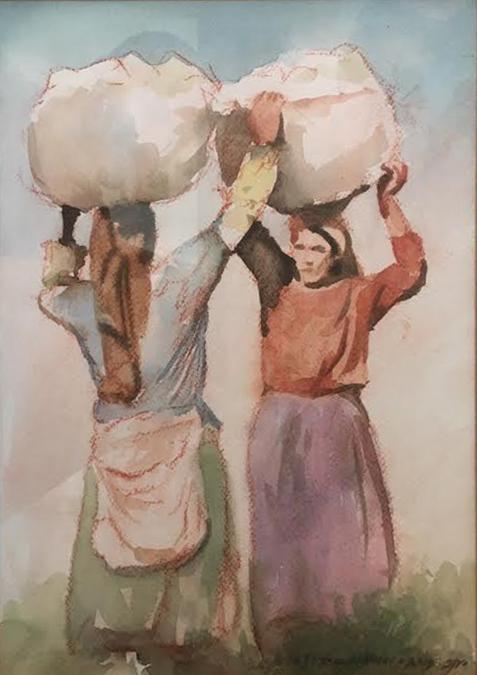 Yaacov Kimhi b.1947 (Israeli) Two women carrying baskets watercolor on cardboard