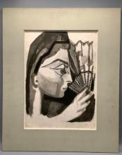 **Francoise Gilot b.1921 (French) Spanish girl with a fan black print on Japanies paper