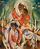 Moshe Matus (Matusovski) 1908-1958 (Israeli) Women and child in cubist composition gouache on paper, Moshe Matus, Click for value