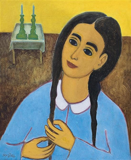 Adam Muszka 1914-2005 (Israeli) Shabbat candle oil on canvas