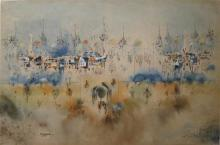 Ben Avram b.1937 (Israeli) Jerusalem landscape watercolor and acrylic on paper