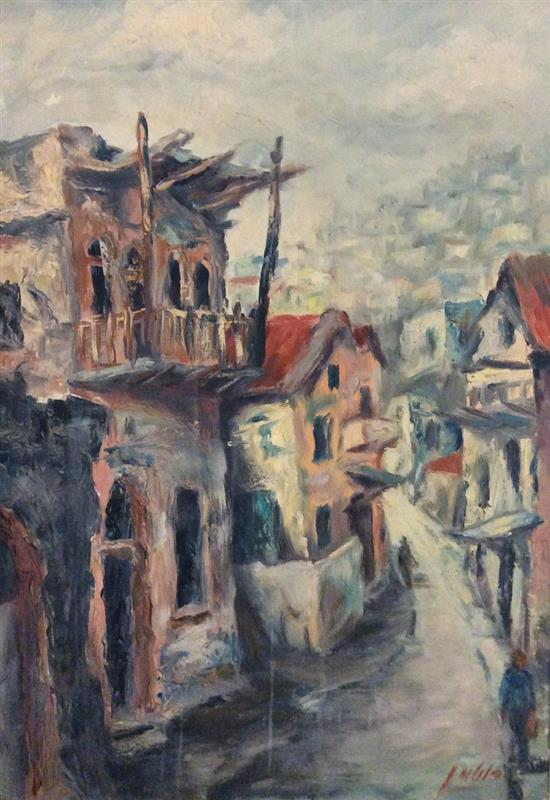 Aryeh Rotman b. 1921 (Israeli) Safed oil on canvas