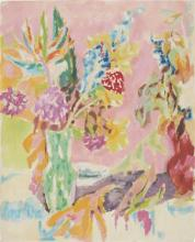 **Jean Jules Louis Cavaillטs 1901-1977 (French) Bouquet in green vase, c.1960 gouache on paper