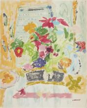 **Jean Jules Louis Cavailles 1901-1977 (French) Bouquet de fleurs dans un interieur oil and pencil on cardboard
