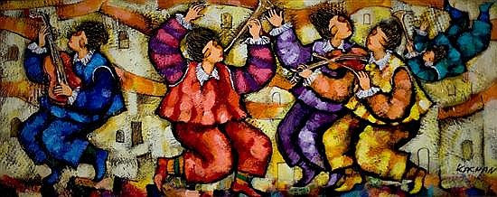 Michael Kachan b.1964 (Armenian, Israeli) Kleizmers oil on canvas
