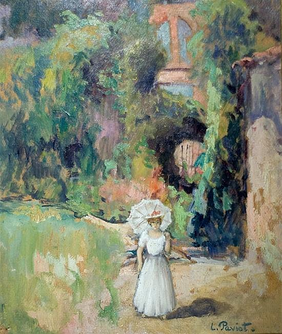 Louis Claude Paviot 1872-1943 (French) Lady walking in garden oil on board