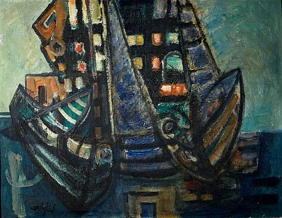 Joseph Weiss 1916-2003 (Israeli) Ship in harbour, 1960 oil on canvas