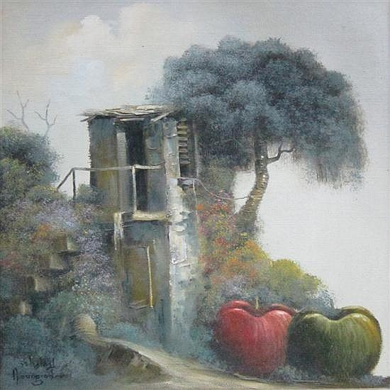 Jacov Nowogroder b. 1939 (Israeli) Landscape with apples oil on canvas