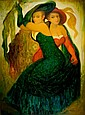 Marina Grigoryan b. 1963 (Israeli) Two dancing ladies oil on canvas, Marina Grigoryan, Click for value