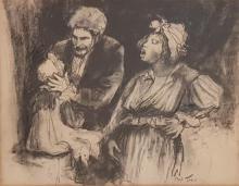 Esther Peretz Arad 1921-2005 (Israeli) Les Miserables charcoal on paper