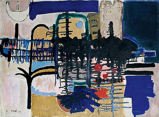 Lea Nikel 1918-2005 (Israeli) Acre, 1955 oil on canvas