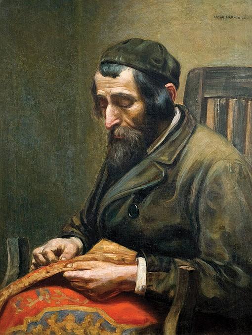 Artur Markowicz 1872-1934 (Polish) Tailor oil on canvas
