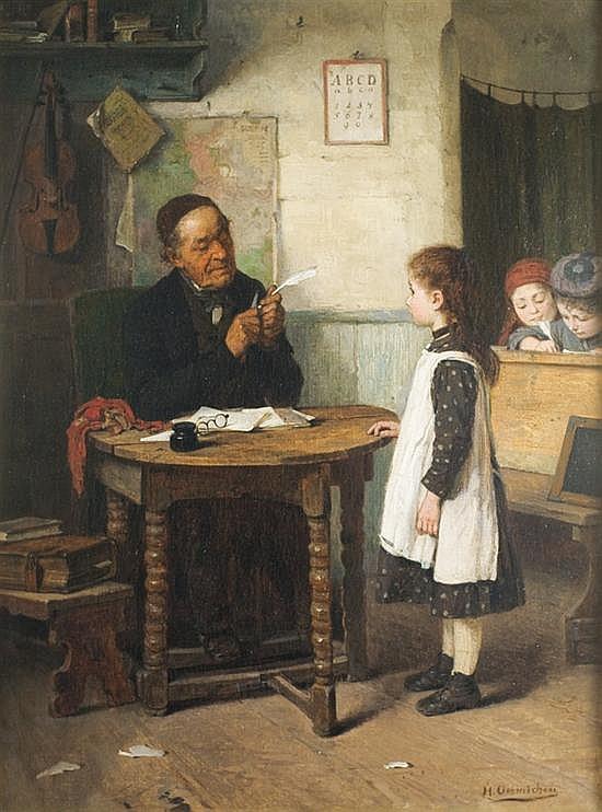 Hugo Oehmichen 1843-1933 (German) A school examination oil on panel