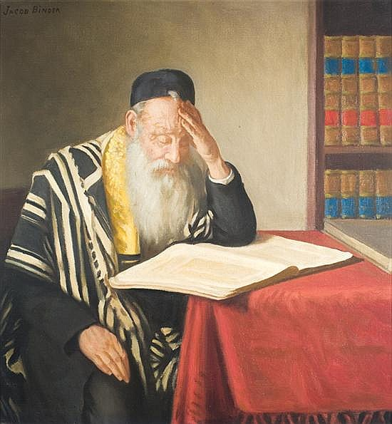Tony Binder 1868-1944 (Austrian) Rabbi reading oil on canvas