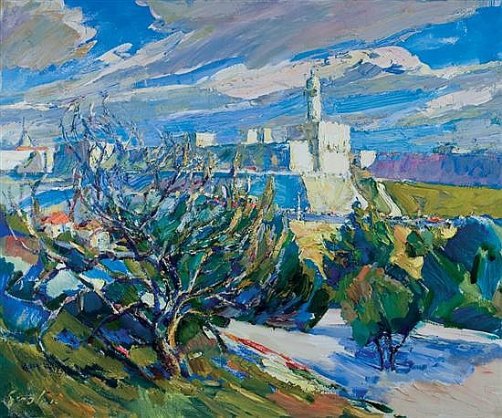 Aharon April b. 1932 (Israeli) The citadel, Jerusalem oil on canvas