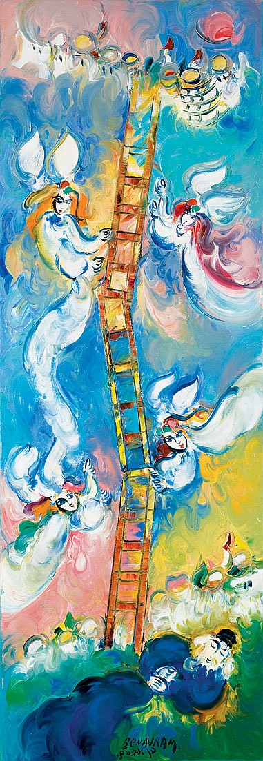 ** Ben Avram b. 1937 (Israeli) Jacob's Ladder signed lower center and again on reverse